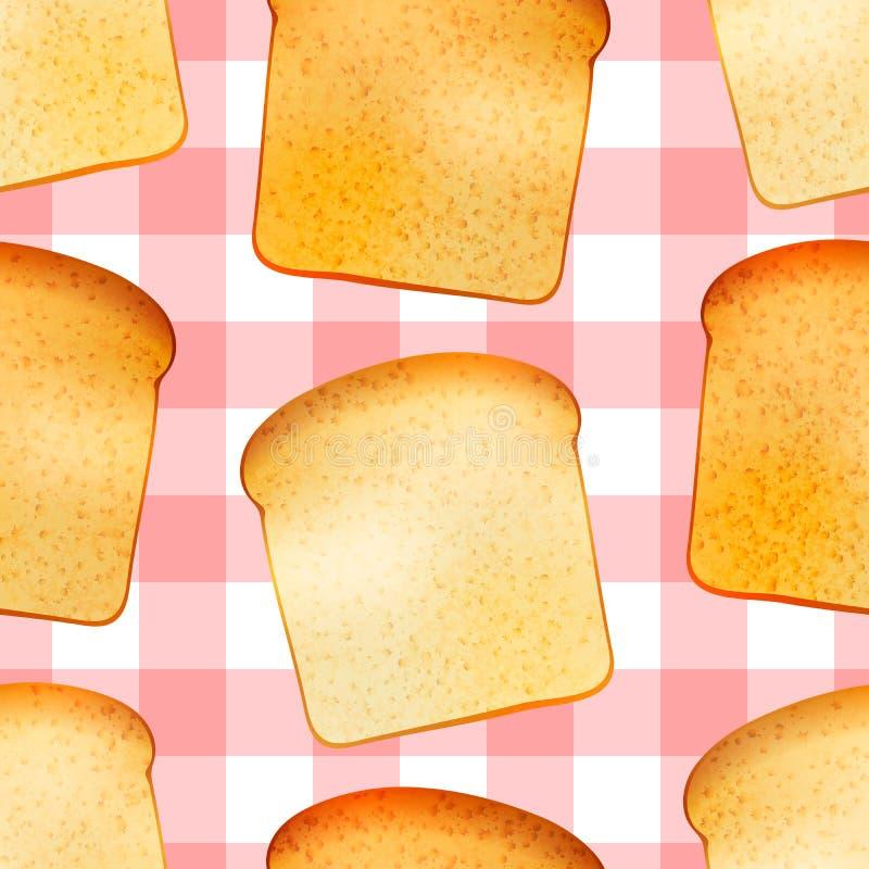 Les pains grillés savoureux lumineux, déjeunent modèle sans couture illustration stock