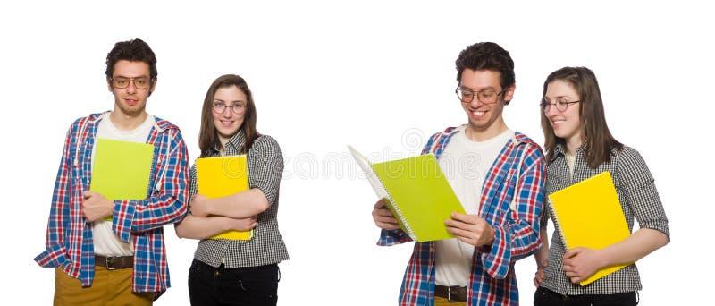 Les paires d'étudiants d'isolement sur le blanc image libre de droits
