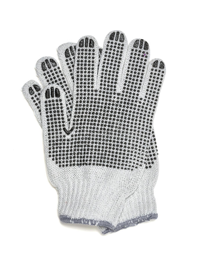 Les paires de coupe-circuit de blanc ont tricoté des gants avec le côté couvert de caoutchouc images libres de droits