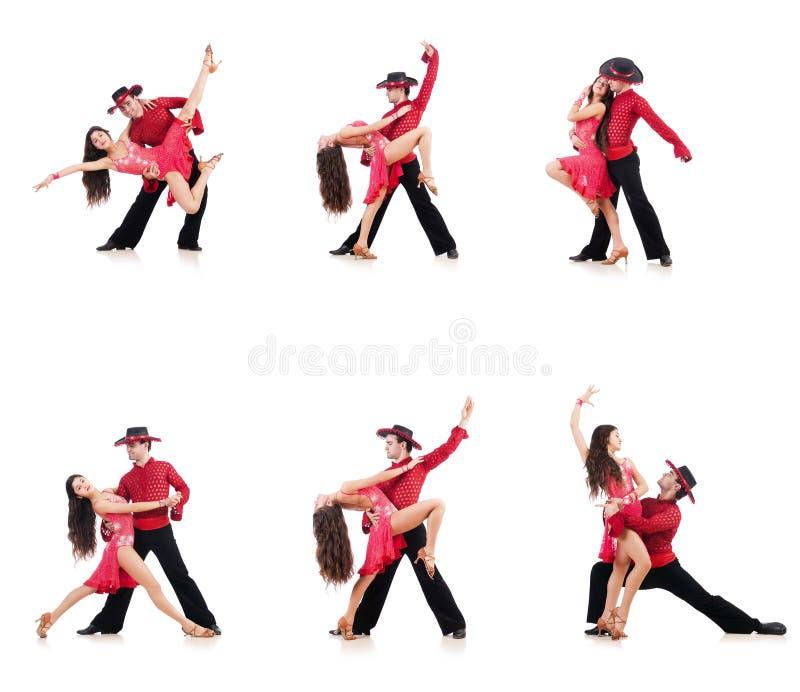 Les paires de danseurs d'isolement sur le blanc images libres de droits