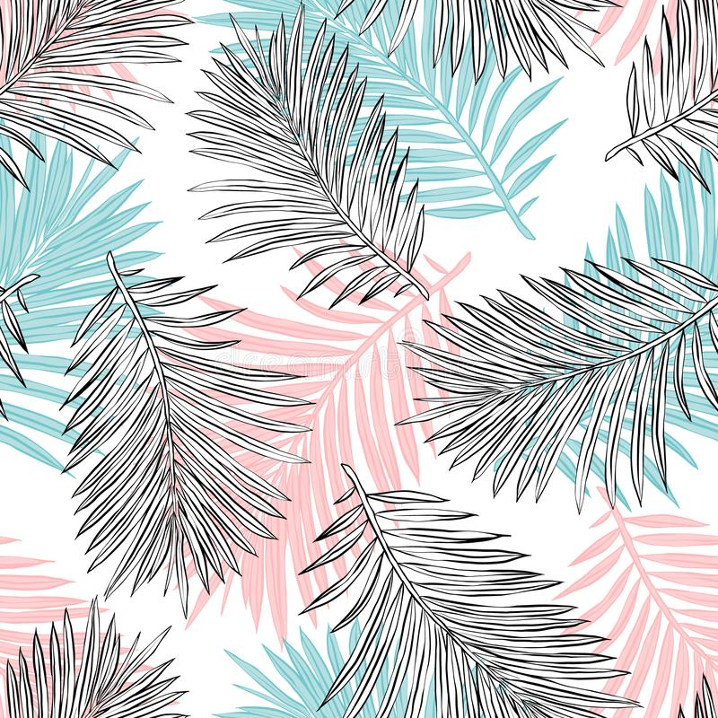 Les palmettes tropicales, jungle laisse ? vecteur sans couture le fond floral de mod?le illustration stock