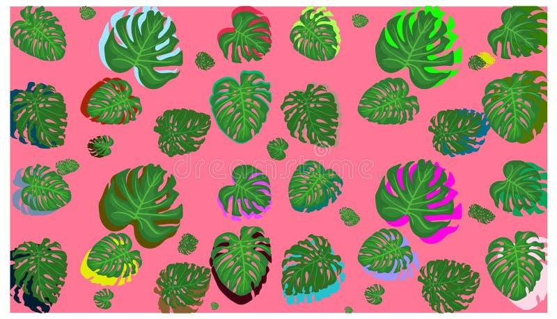 Les palmettes tropicales, jungle laisse ? vecteur sans couture le fond floral de mod?le illustration stock