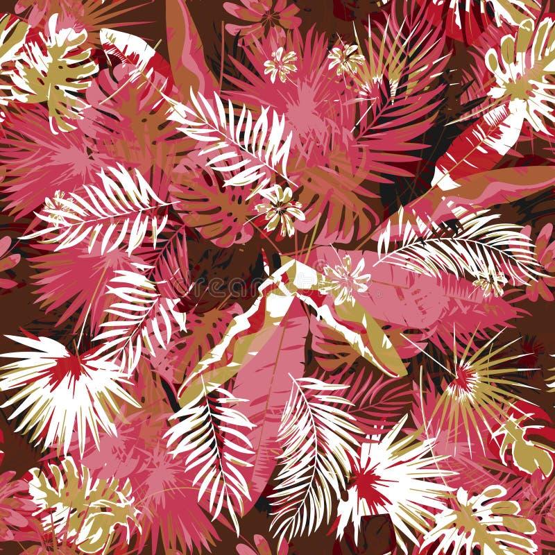 Les palmiers sans couture floraux tropicaux modèlent des couleurs à la mode d'un fond de camouflage Usines exotiques de peinture  illustration libre de droits
