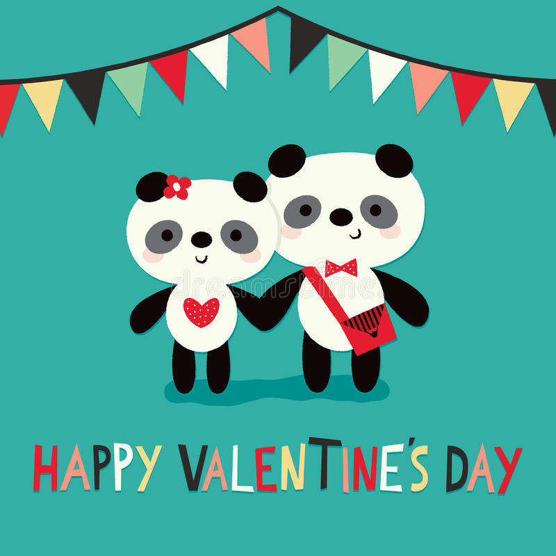 Les pandas heureux de carte de jour de valentines donnant un petit coup la guirlande monnayent illustration stock