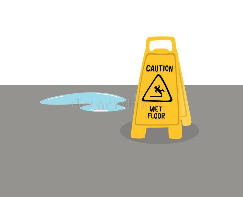 Les panneaux d'avertissement prennent garde des planchers glissants placés sur le plancher avec de l'eau illustration libre de droits