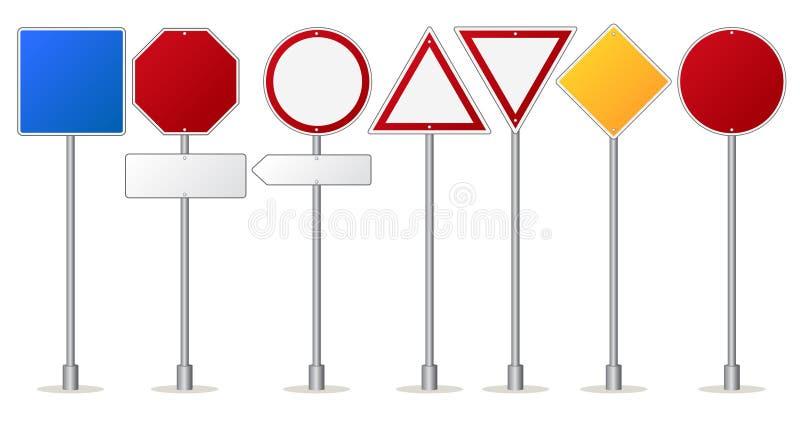 Les panneaux routiers placent, les poteaux indicateurs de réglementation et d'avertissement du trafic illustration stock