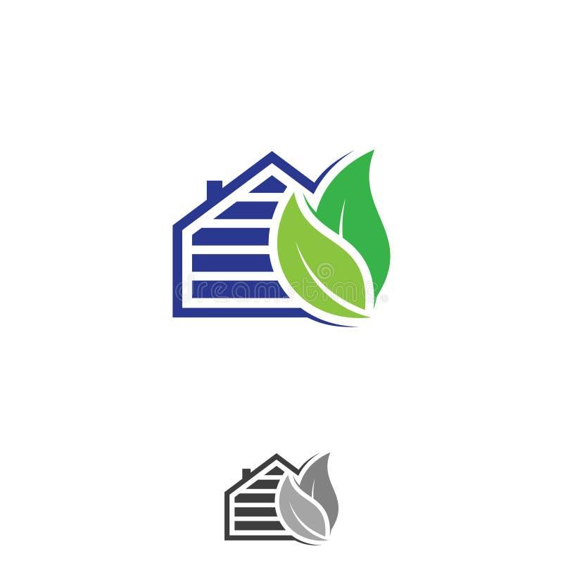 Les panneaux solaires à la maison avec la feuille verte dirigent des symboles d'écologie illustration libre de droits