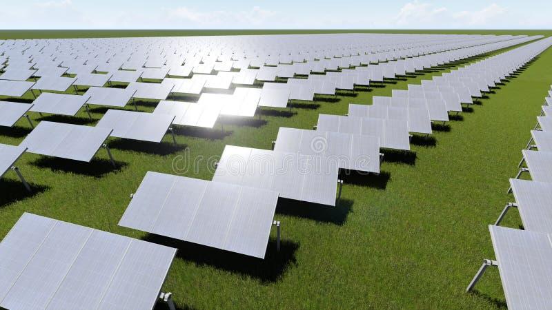 Les panneaux solaires avec le générateur de vent sur le ciel clair 3D rendent illustration stock