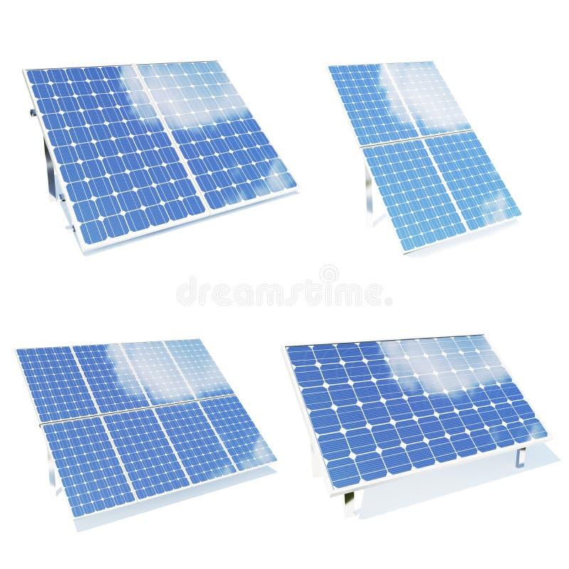 Les panneaux solaires ont isolé le fond de blanc de l'OM Ensemble de panneaux solaires d'environmetn Panneaux solaires bleus Alte illustration stock
