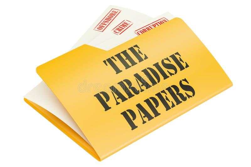 Les papiers de paradis, fuite de concept de données rendu 3d illustration libre de droits