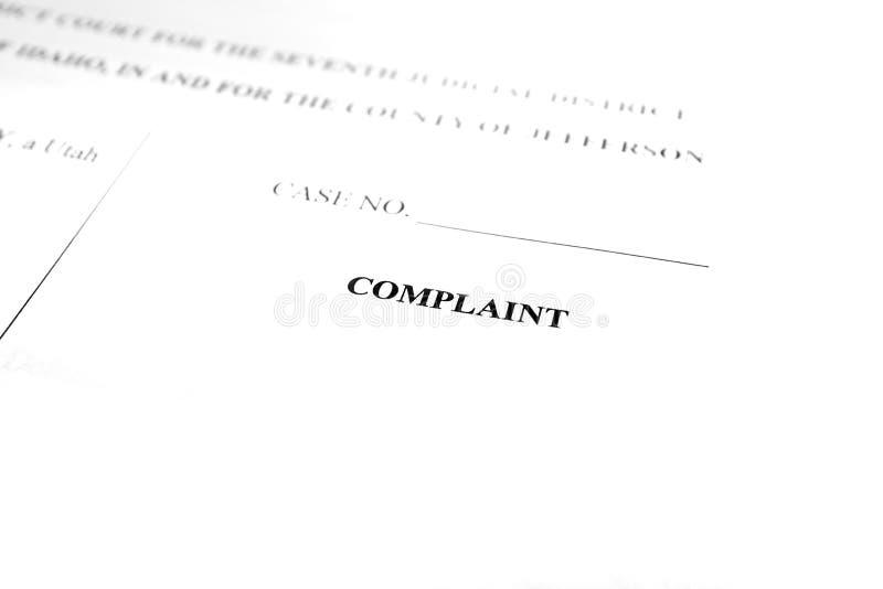 Les papiers juridiques ont vérifié la plainte photos libres de droits