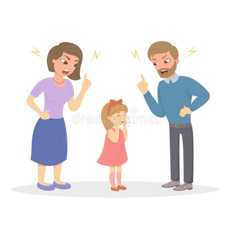 Les parents maltraitent la fille illustration de vecteur