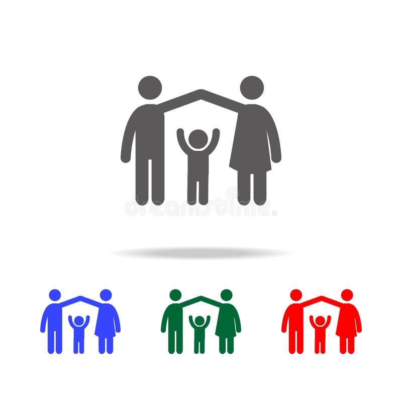 les parents protègent l'icône d'enfant Éléments des icônes colorées multi de famille Icône de la meilleure qualité de conception  illustration libre de droits