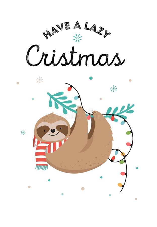 Les paresses mignonnes, les illustrations drôles de Noël avec des costumes de Santa Claus, le chapeau et les écharpes, cartes de  illustration stock