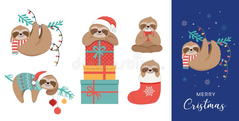 Les paresses mignonnes, les illustrations drôles de Noël avec des costumes de Santa Claus, le chapeau et les écharpes, cartes de  illustration de vecteur
