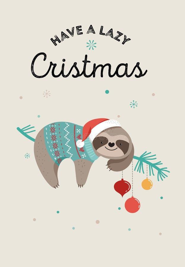 Les paresses mignonnes, les illustrations drôles de Noël avec des costumes de Santa Claus, le chapeau et les écharpes, cartes de  illustration libre de droits