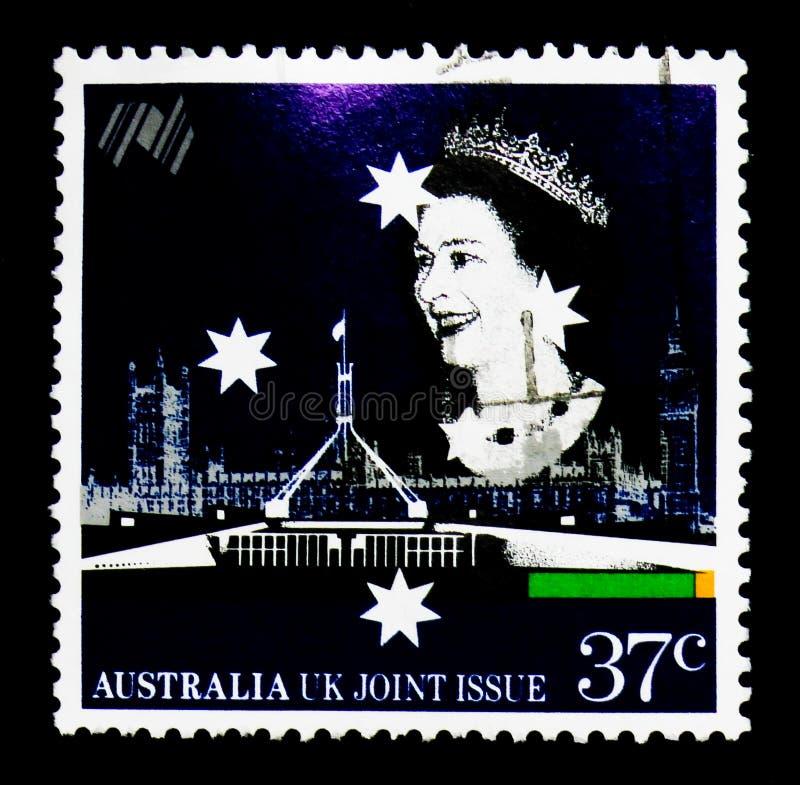 Les Parlements britanniques et australiens, la Reine Elizabeth II, Australi photos libres de droits