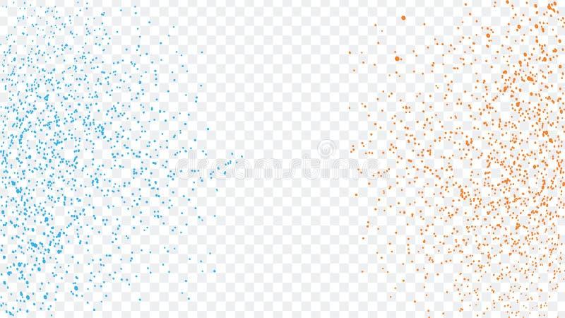 Les particules bleues et oranges de poudre de scintillement éclaboussent l'illustration d'isolement sur le fond transparent Magie illustration de vecteur