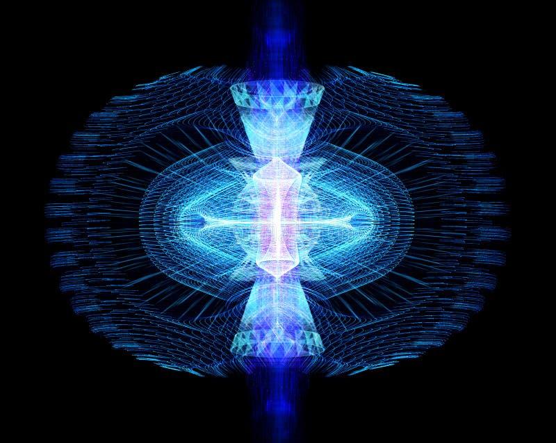Les particules de haute ?nergie traversent un tokamak ou un dispositif en forme d'anneau illustration de vecteur