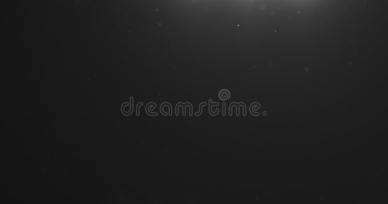 Les particules de poussière volent dans le ciel au-dessus du fond noir avec la fuite légère d'en haut image stock