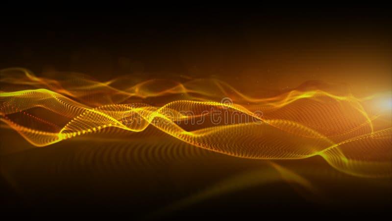 Les particules numériques de couleur abstraite d'or ondulent avec le fond de mouvement de bokeh et de lumière illustration stock