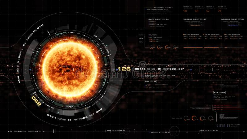 Les particules olographes futuristes de couronne de Sun se dirigent vers le haut de l'affichage illustration libre de droits