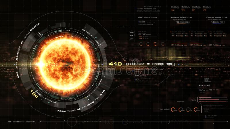 Les particules olographes futuristes de couronne de Sun se dirigent vers le haut de l'affichage illustration stock