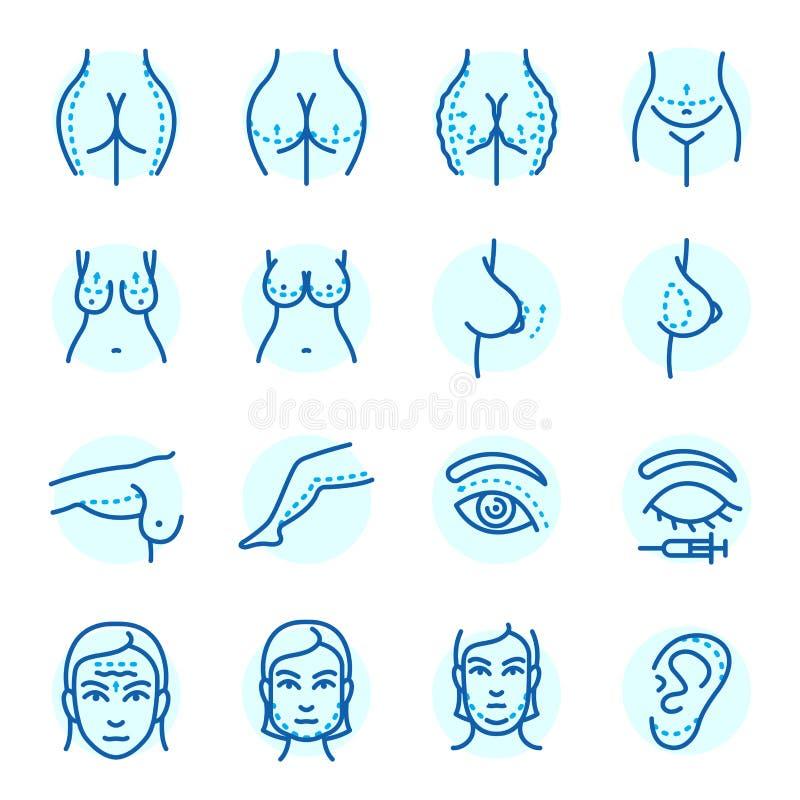 Les parties du corps de chirurgie plastique font face à la procédure infographic de santé de beauté de traitement de peau de méde illustration de vecteur