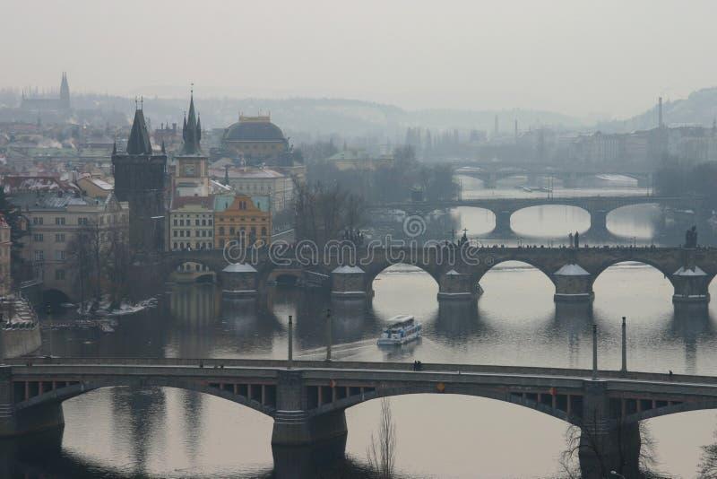 Les passerelles de Prague image libre de droits