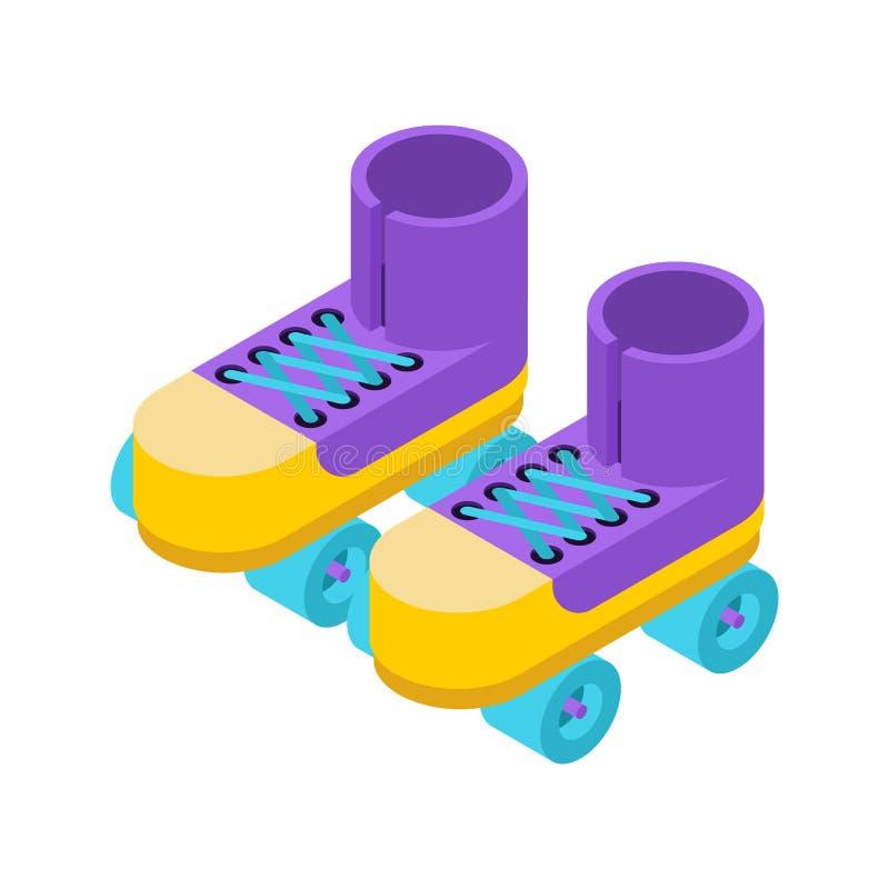 Les patins de rouleau ont isolé le style isométrique chaussures pour monter sur le grou illustration stock