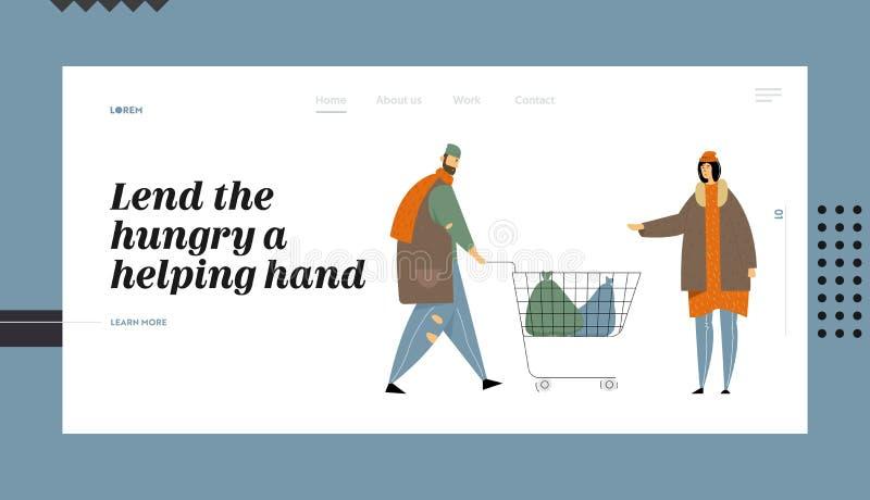 Les pauvres personnes sans abri, flânent priant la page d'atterrissage d'argent et de site Web d'aide du besoin, mendiants dans l illustration stock
