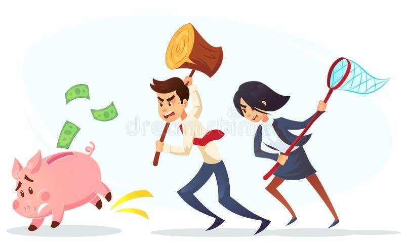 Les pauvres ruinent la tirelire de chasse de fonctionnement de caractère d'employé de bureau de femme d'affaires d'homme d'affair illustration stock