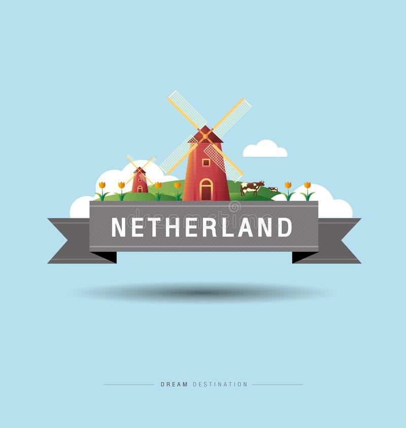 Les Pays-Bas, Amsterdam, moulin à vent, destination, voyage, scape de ville, typographie illustration libre de droits