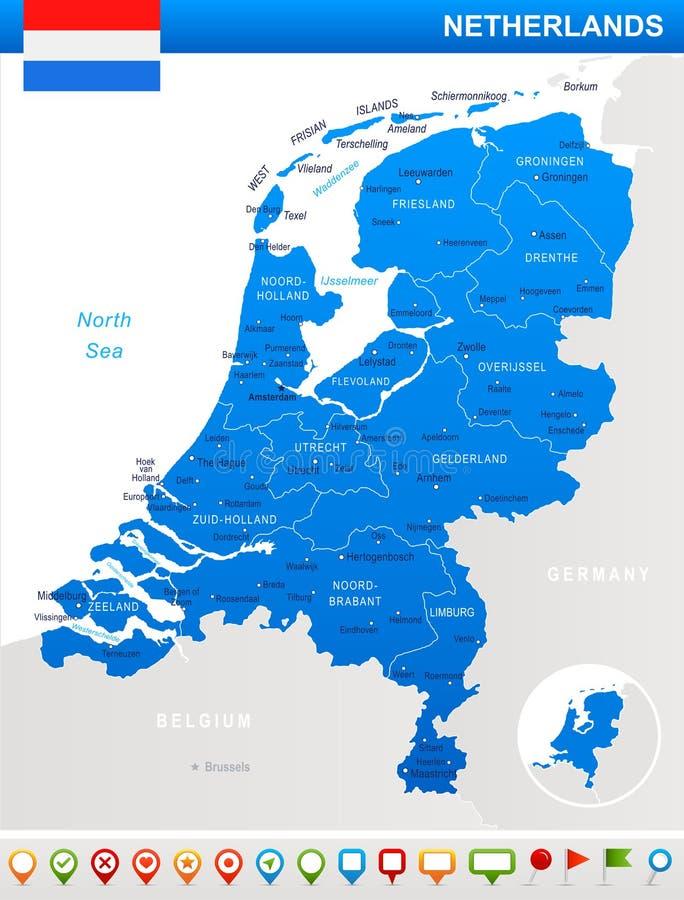Les Pays-Bas - illustration de carte et de drapeau illustration de vecteur