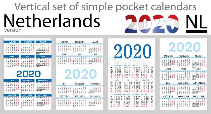 Les Pays-Bas ont placé des calendriers de poche pour 2020 illustration libre de droits