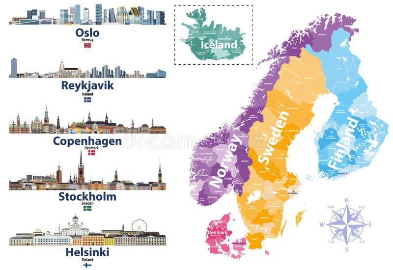 Les pays scandinaves tracent avec des icônes d'horizons de capitales Illustration de vecteur illustration libre de droits