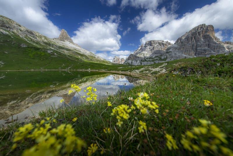 Les paysages stupéfiants regardent de l'étang et de la montagne verte avec le ciel bleu l'été des dolomites, Italie images stock