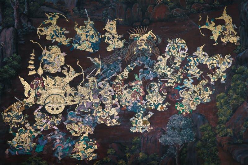 Les peintures murales de Ramakian Ramayana le long des galeries du temple d'Emerald Buddha, photo stock