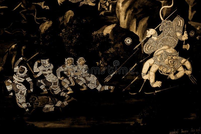 Les peintures murales de Ramakian Ramayana le long des galeries du temple d'Emerald Buddha, du palais grand ou de l'interdiction  image libre de droits