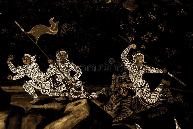 Les peintures murales de Ramakian Ramayana le long des galeries du temple d'Emerald Buddha, du palais grand ou de l'interdiction  photos stock