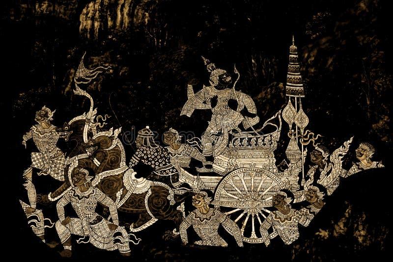 Les peintures murales de Ramakian Ramayana le long des galeries du temple d'Emerald Buddha, du palais grand ou de l'interdiction  image stock