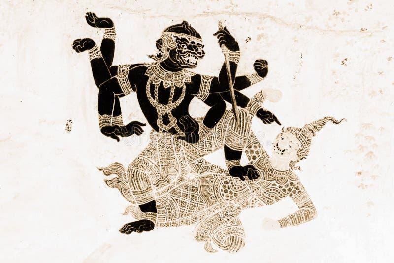 Les peintures murales de Ramakien Ramayana colorent le noir et l'or sur l'illustration blanche de mur le long du papier peint de  image stock