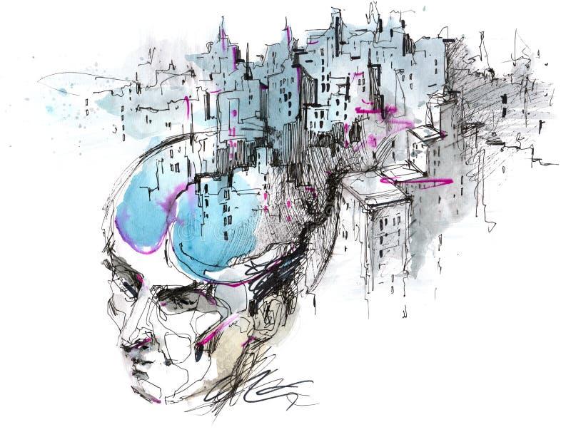 Les pensées de l'homme illustration stock