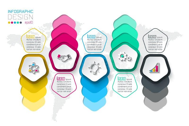 Les pentagones marquent infographic avec 5 étapes illustration de vecteur