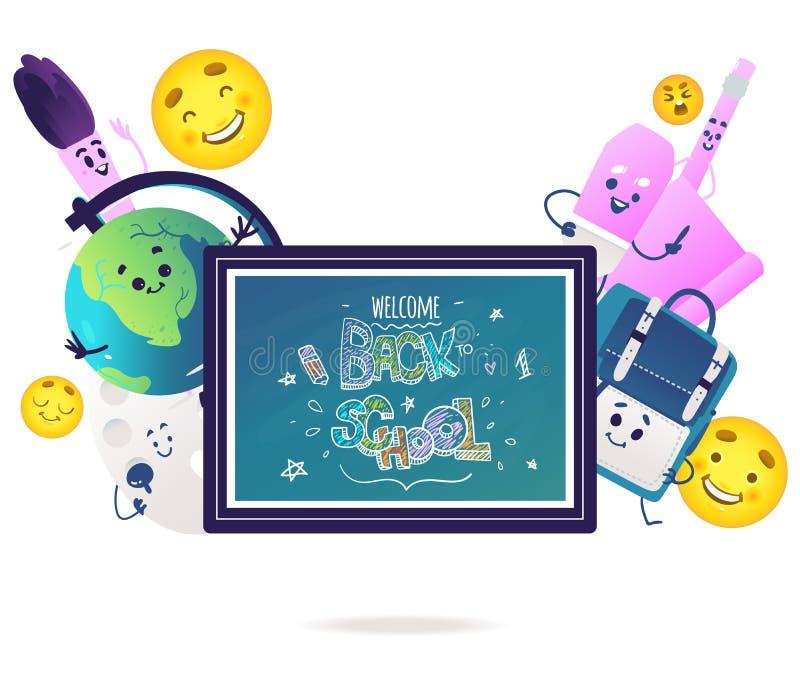 Les personnages de dessin animé d'articles d'école avec les visages de sourire mignons autour du tableau noir bleu avec la craie  illustration stock