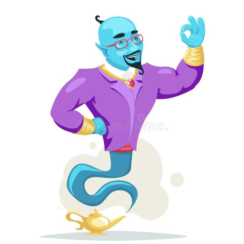 Les personnages de dessin animé magiques de fumée de lampe de génies Arabes d'homme d'affaires réglés souhaitent l'illustration d illustration stock