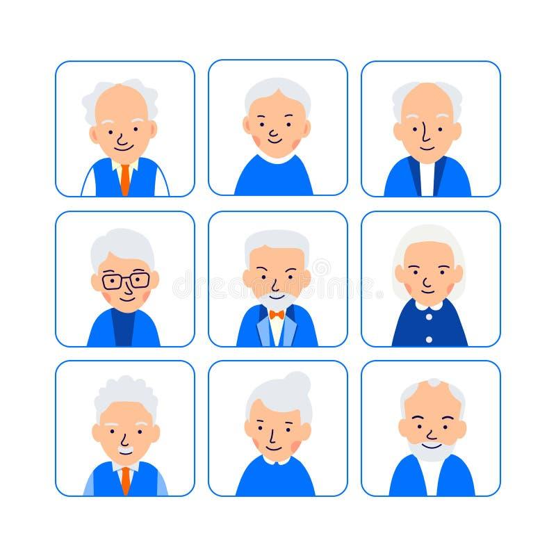 Les personnes âgées d'avatars Illustrations des têtes du retraité dans les places arrondies Visages mâles et femelles Illustratio illustration libre de droits