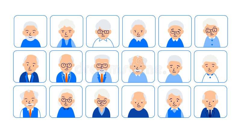 Les personnes âgées d'avatars Illustrations des têtes du retraité dans les places arrondies Visages mâles et femelles Illustratio illustration de vecteur