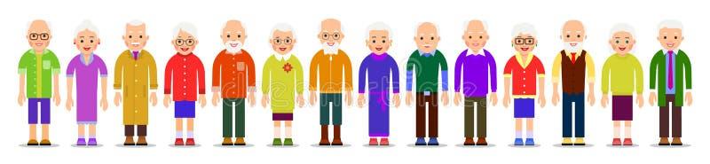 Les personnes âgées ont isolé Homme plus âgé et femmes d'isolement dans le beau style plat sur le fond blanc Groupe de retraités  illustration libre de droits