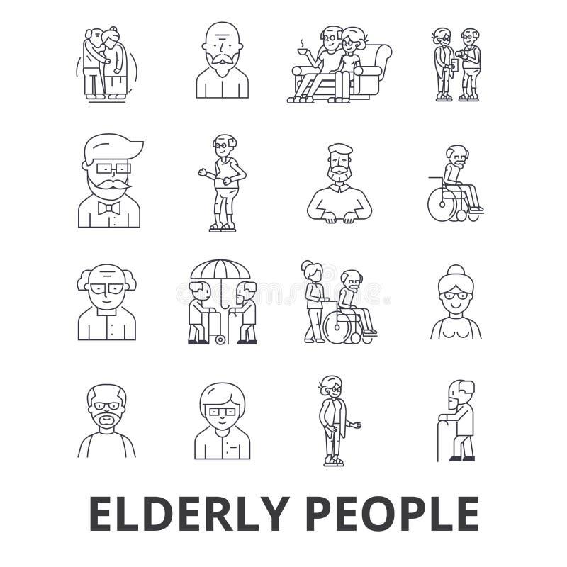 Les personnes âgées, soin, couple plus âgé, personnes âgées, patiente pluse âgé, ligne icônes de soutien Courses Editable Concept illustration de vecteur